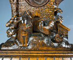 Antique HC Swiss Black Forest Pocket Watch Stand, Fox and Chickens, Hens and Castle