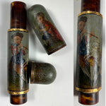 Antique c.1750s French Vernis Martin and 18k Billet Doux, Sweet Notes, Love Letter Etui, Painting