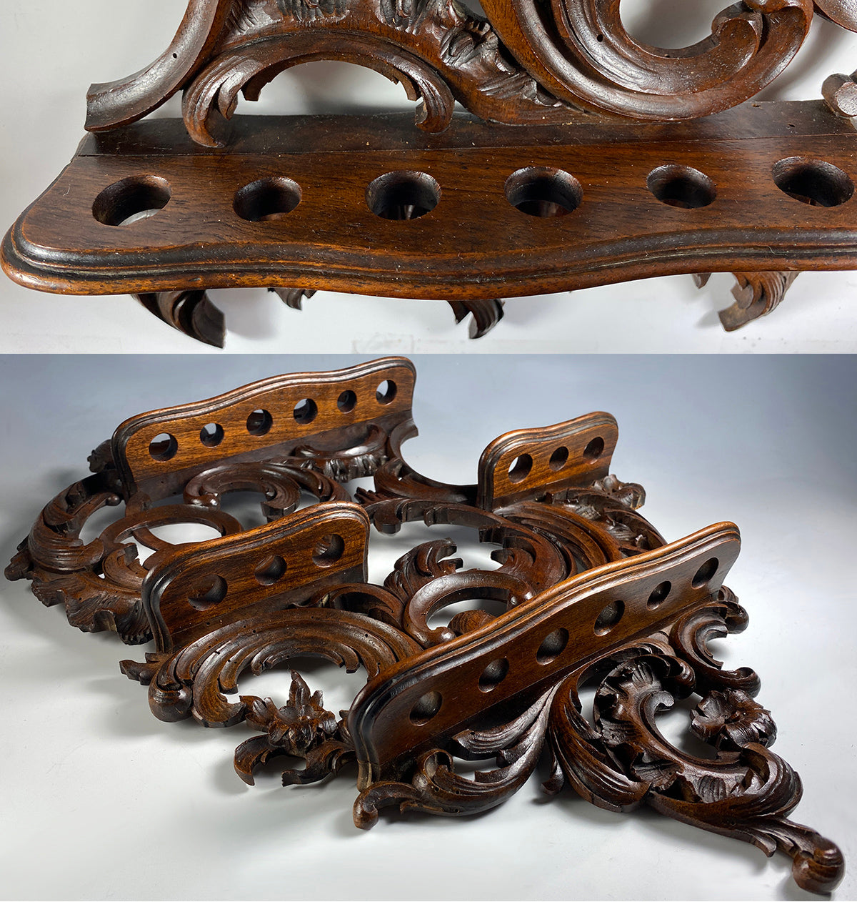 "Fine Antique French Carved Wood 18"" Pipe Rack, Cigar or Spoons Display, Rocailles"