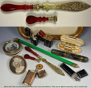Rare Antique French Wax Seal, Paper Knife or Letter Opener, Vermeil Blade, Matrix, and Agate Handles
