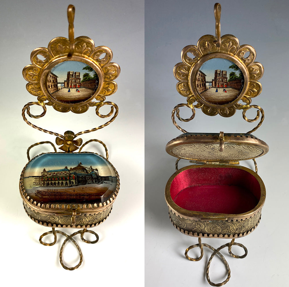 Antique French Grand Tour Eglomise Souvenir Pocket Watch Stand, Jewerly Box