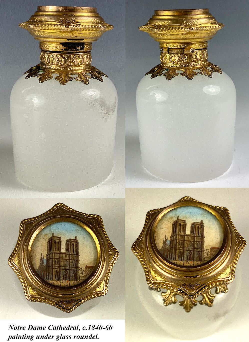 Antique French White Opaline Perfume or Cologne Bottle, Grand Tour Souvenir Eglomise, Notre Dame