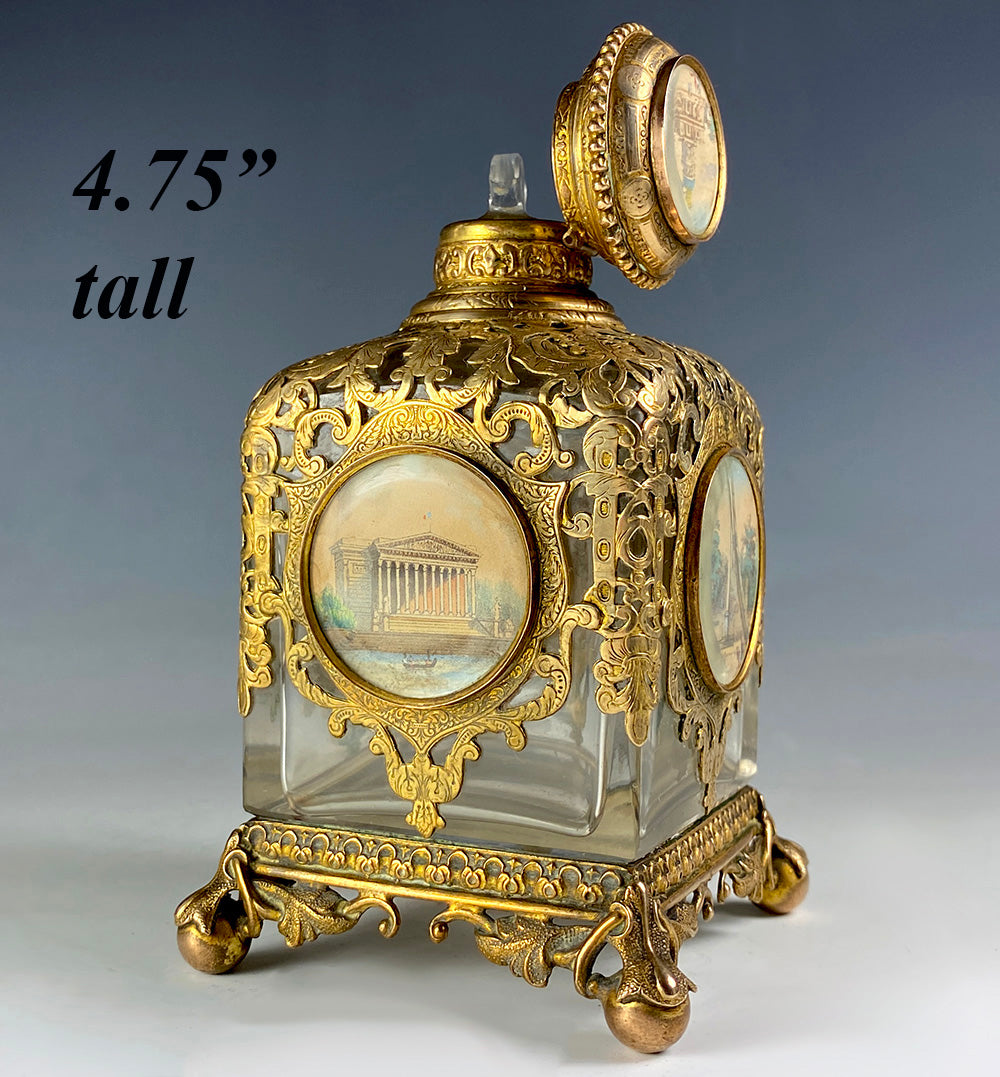 Antique Victorian Grand Tour French Perfume Bottle, 5 Eglomise Views of Paris