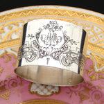 "Antique French Sterling Silver Napkin Ring, Scrolled Foliage & Flowers, ""AM"" Monogram"