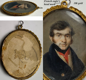 Antique French Revolution Portrait Miniature, Blue Coat, 18k Gold Frame, Pendant?