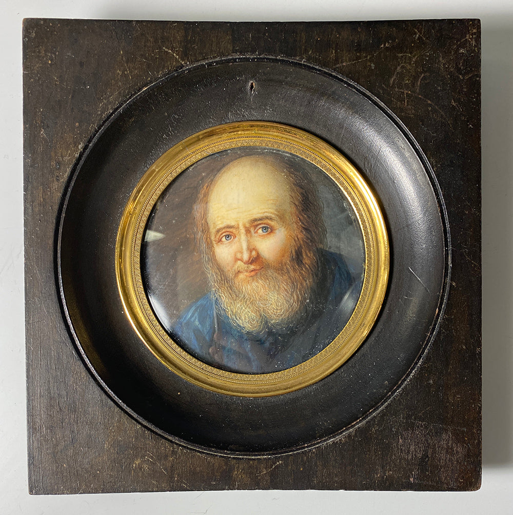 Antique French Portrait Miniature dated c1792, A Beared Priest in Blue Robe