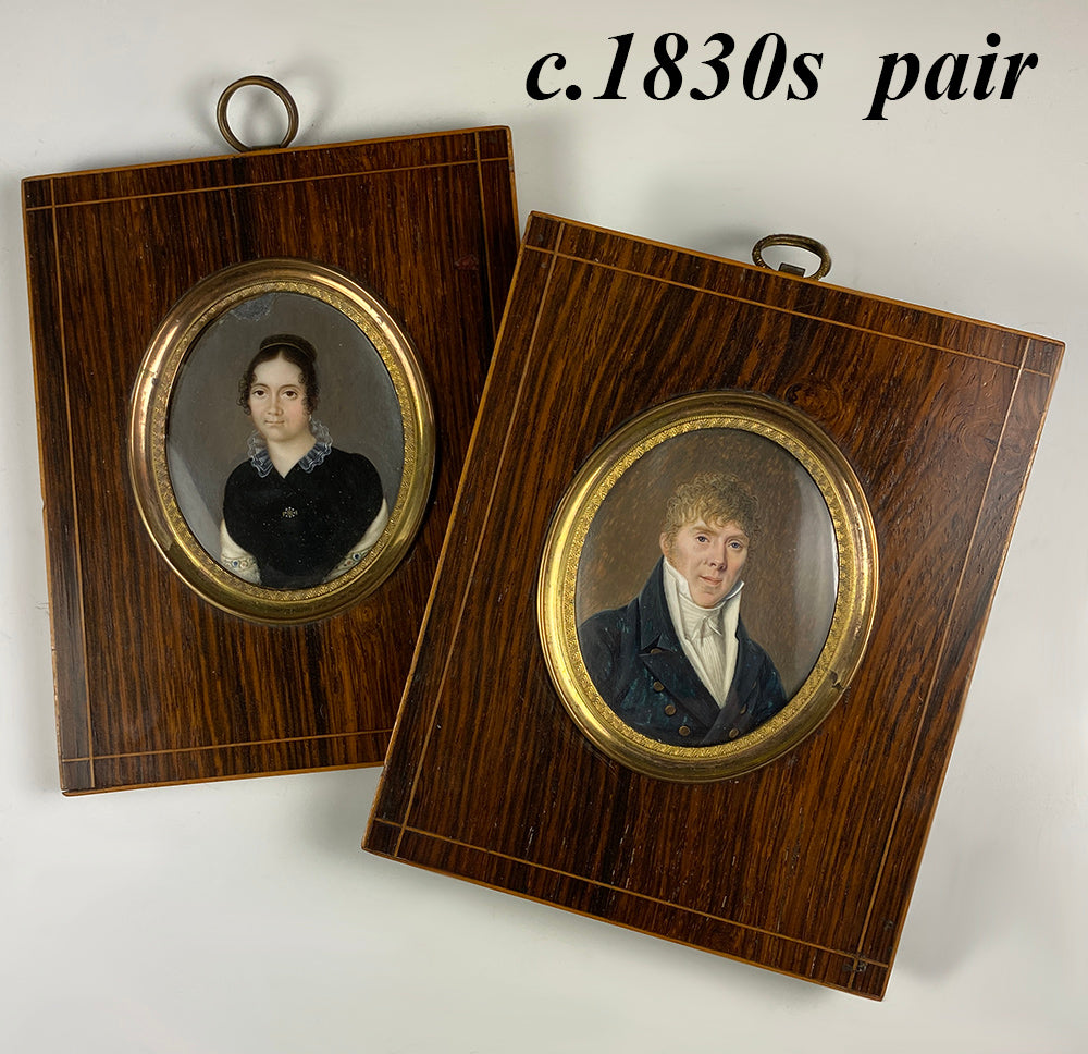 Pair: Antique French Portrait Miniature, Man and Woman, Tiara, Embroider, c.1830, Prussian?