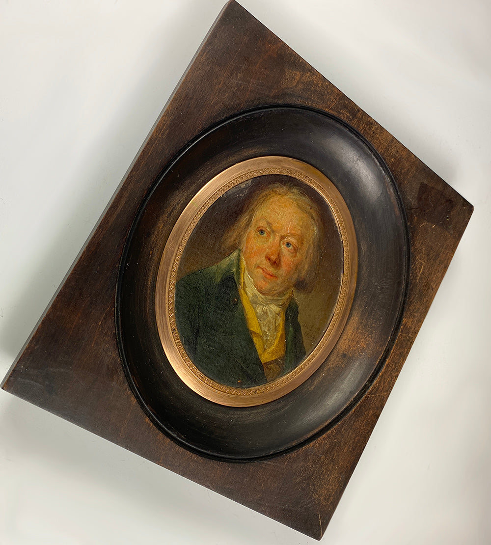 Antique French Portrait Miniature, Oil Painting of a Man, Wood Frame, c.1830s