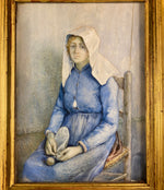 Antique Portrait of a Beautiful Young Woman Knitting, Servant? Nun Novitiate? HUGE Miniature