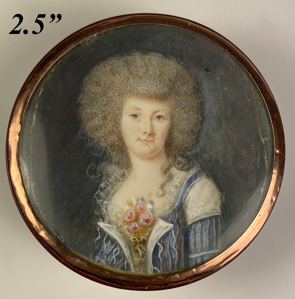 Antique French c.1770s Naughty Portrait Miniature Snuff Box, 24k Gold Inlay Vernis Martin