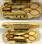Antique TAHAN French Sewing Tools Etui, 18k Gold and c.1850s Ivory Case, Monogrammed, Complete