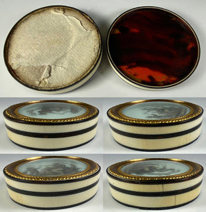 Antique French Bonboniere or Snuff Box, c.1770-1800, Tortoise Shell and Ivory, Miniature Portrait Painting