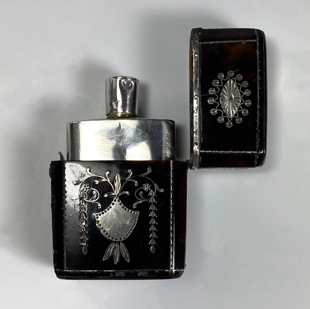 Antique French c.1800 Scent Flask, Bottle in Etui of Tortoise Shell & Sterling Silver Pique