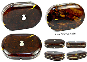 "Rare Fine Antique English ""Mappin & Webb"" Tortoise Shell Sewing Case, Etui, Mother of Pearl Implements"