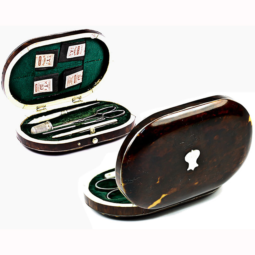 "Rare Fine Antique English ""Mapping & Webb"" Tortoise Shell Sewing Case, Etui, Mother of Pearl Implements"