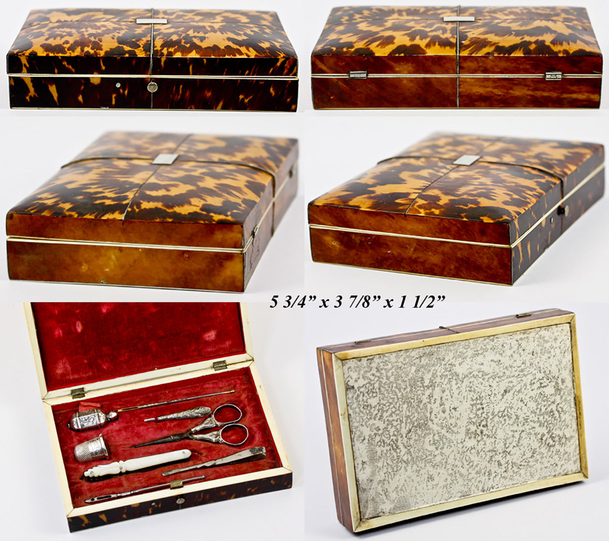 Antique Georgian English Sewing Etui, Superb Tortoise Shell Case with Sterling Silver and MOP Sewing Tools