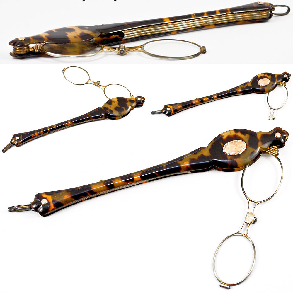 Antique French Tortoise Shell & 18k Gold Lorgnette c. 1820- 50, Complete