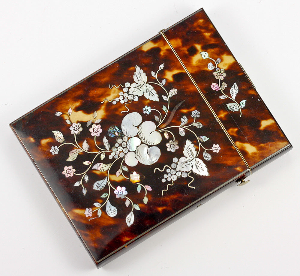 Stunning Victorian Tortoise Shell Card Case with Mother of Pearl Marquetry, Silver Stringing - Tortoiseshell