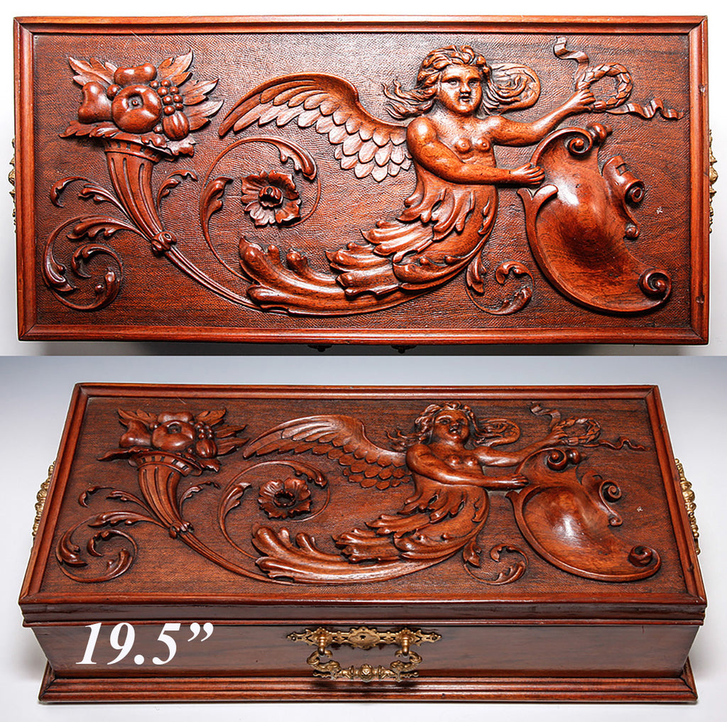 "Antique Hand Carved Neo Renaissance c.1700s Chimera Panel Made into c.1800s 19.25"" Long Box, Jewelry Casket"