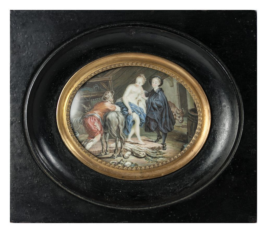 "RARE Fine Antique French Miniature Painting, ""Naughty"" Portrait of Loss of Virtue, 3 Figures"