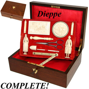 RAREST French c.1750-1840 Dieppe Carved Sewing Box, Figural Needle Cases, Neccesaire, Thimble, Etc., Complete!