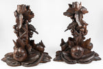 PAIR Antique HC Black Forest Candle Holders, Epergne Stands, Exquisite! Birds, Fruit