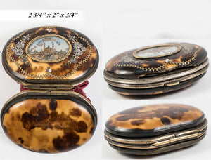 Antique French Coin Purse, Eglomise 1878 Paris Expo Souvenir View, Pique in Gold, Silver