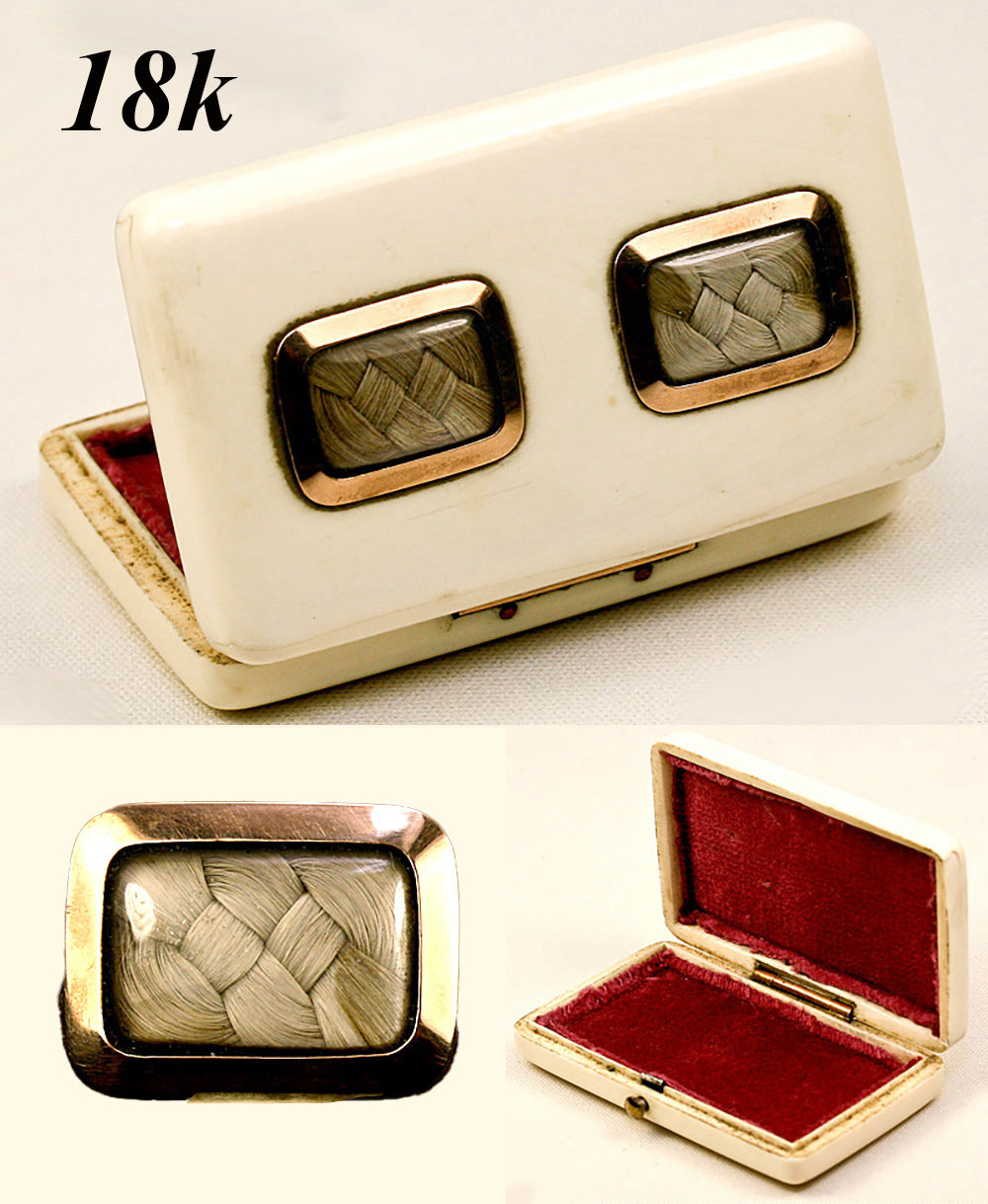 Antique Dual Hair Memento Ivory Patch Box, 18K Gold Mounts - RARE and wonderful!