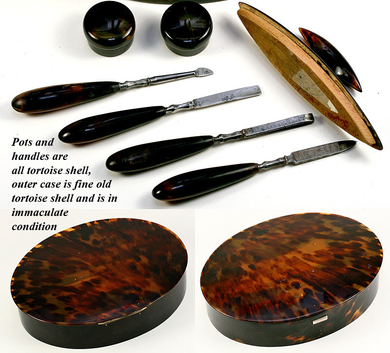 Antique Edwardian English Manicure Set & Casket of Tortoise Shell & Sterling Silver, Hallmarks - Tortoiseshell