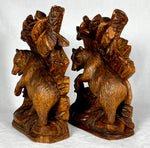 PAIR Antique HC Black Forest Bears, Glass Eyes, Anamalier Movement, c.1860-80s