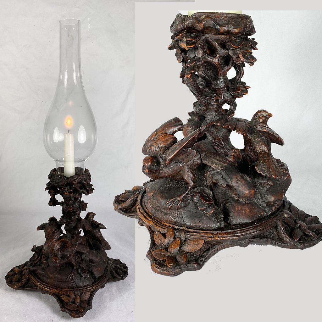 Antique HC Black Forest Stand for Oil Lamp, Candle. c.1860s, 3 Sparrows, Birds