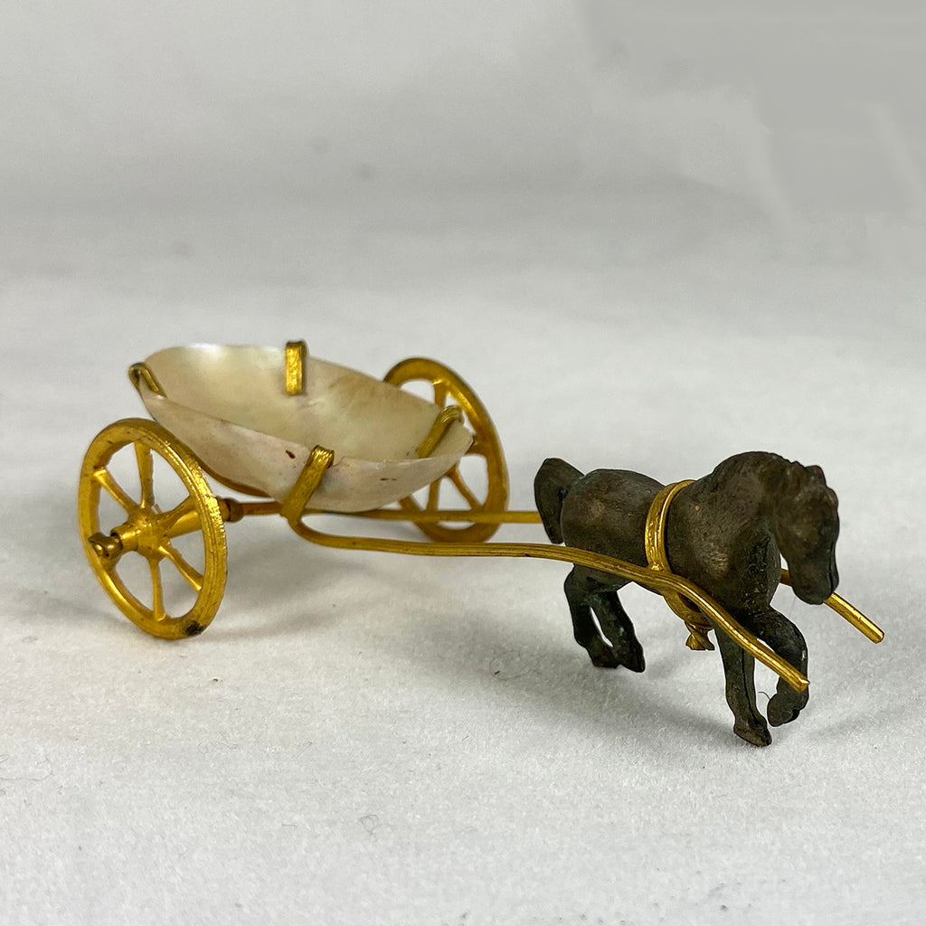 Antique Miniature Carriage, Palais Royal Mother of Pearl Shell with Horse, Thimble Holder