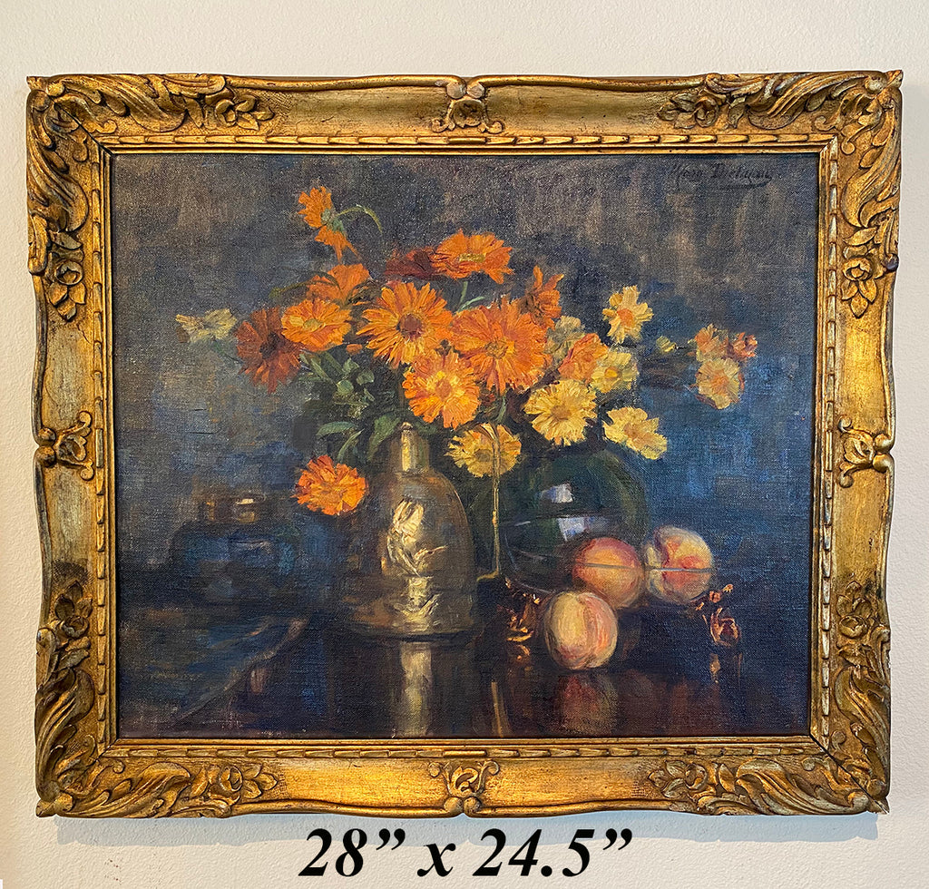 "Antique French Oil Painting in Gilt Wood Frame, Still Life with Flowers, Vase, Fruit 28"" x 24.5"""