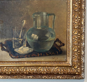 "Antique French Still Life, Oil Painting on Board, Fine Gesso & Wood Frame 22"" x 19"""