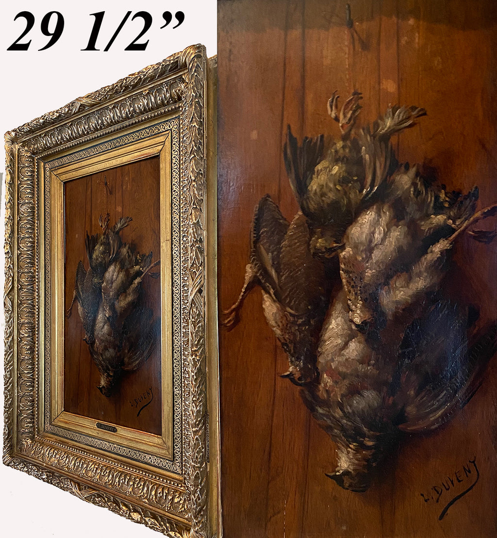 "Antique ""Fruits of the Hunt"" Themed Oil Painting on board, Nature Morte, Frame: 29.5"" x 20.25"", L. Duveny"