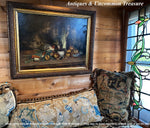 "Antique Oil Painting, Elaborate French Still Life in 31.5"" x 25.5"" Gilt Gesso on Wood Frame"