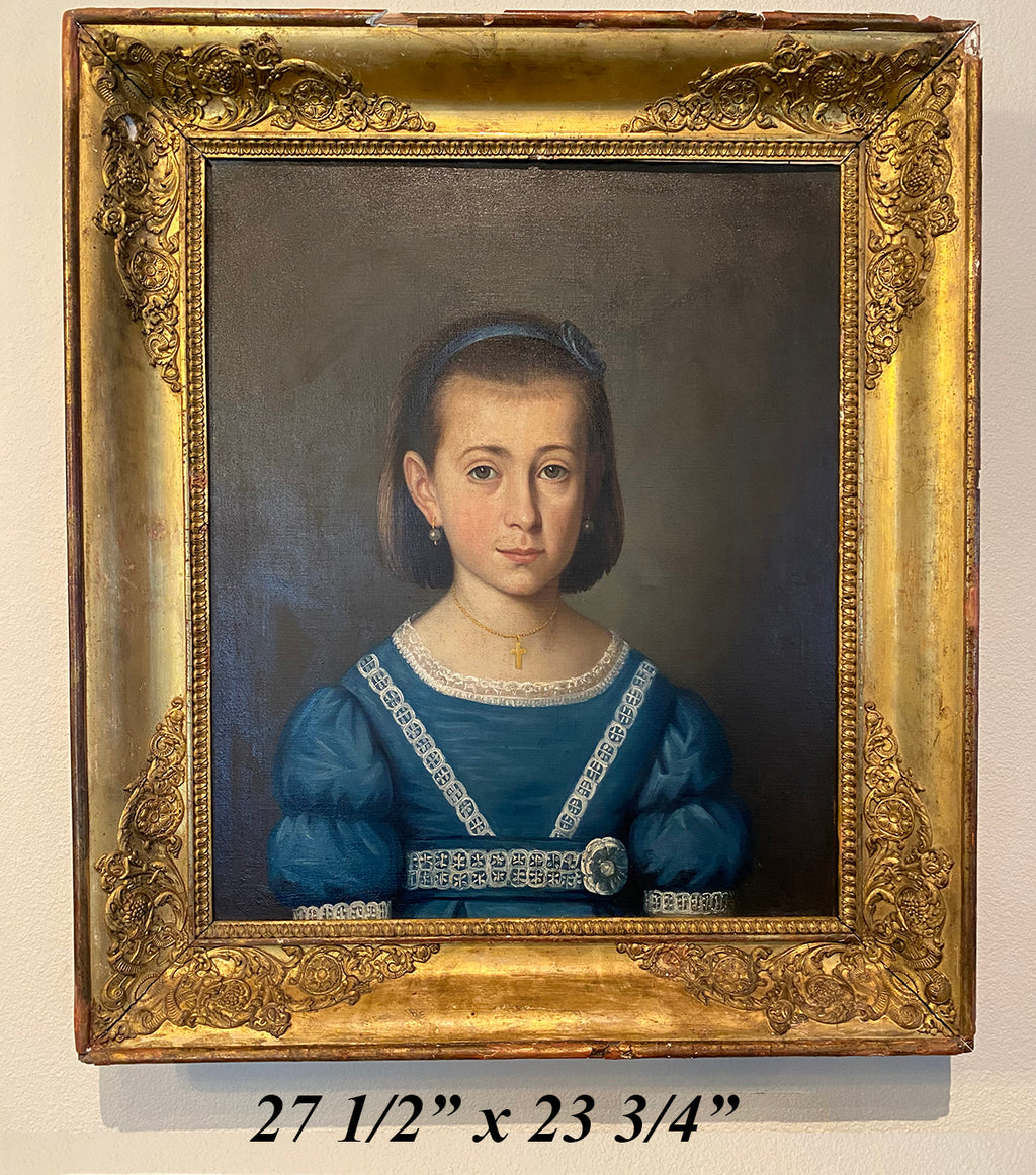 "Antique French Empire Oil Painting Portrait, Beautiful Young Girl in Blue, Frame 27.75"" x 23.75"""