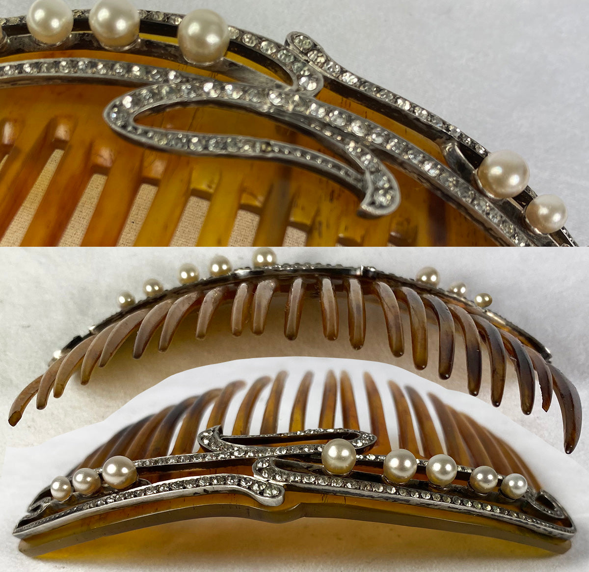 Rare Antique French Tiara Hair Comb, Diamonds and Pearls, Spectacular!