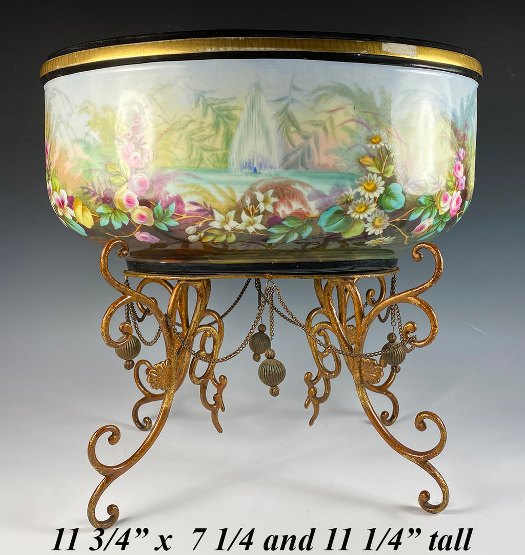 Large Antique French Painted Porcelain Jardiniere, Centerpiece, Raised on Stand