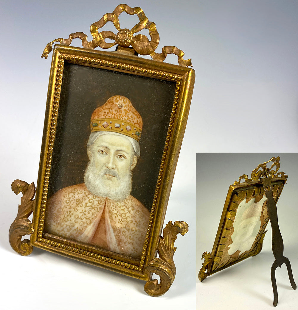 Antique Miniature Portrait, Painting of a Venetian Doge in Jeweled Corno Ducale