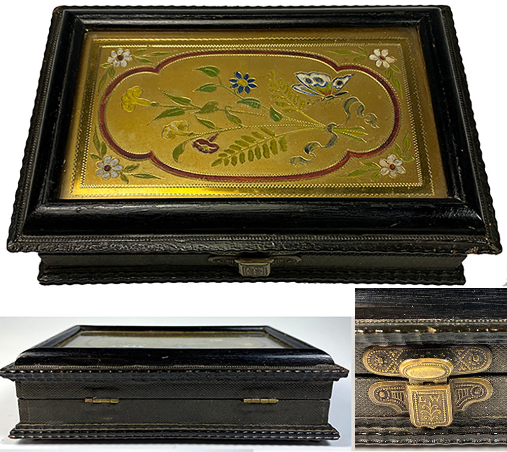 Antique French Palais Royal Sewing Box, Steel Implements, Glass-covered Enamel Plaque