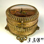 Antique French Grand Tour Souvenir Eglomise Jewelry Box, Concord, Madeleine, Tuileries Palace, Paris