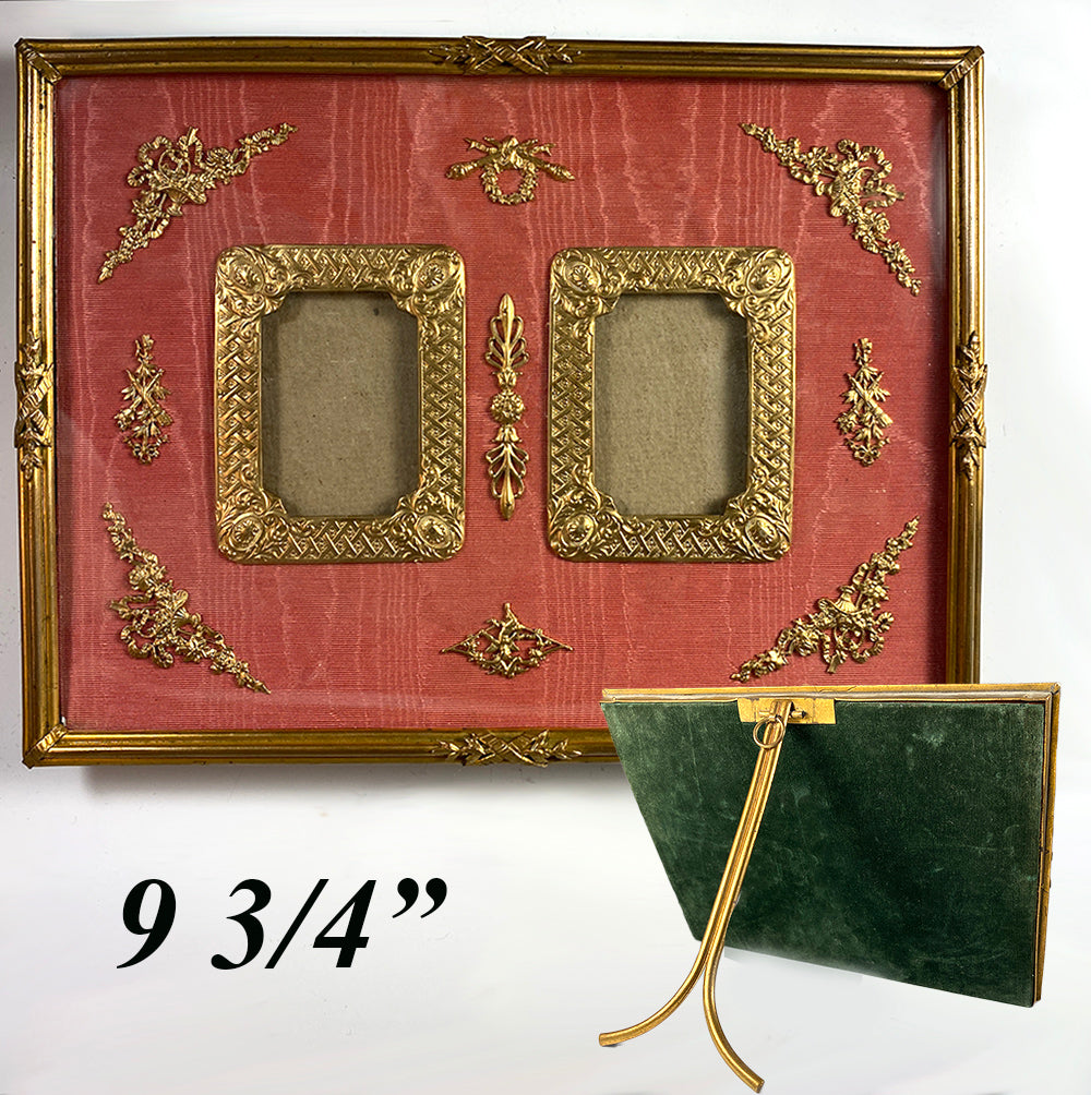 "Antique French Dore Bronze Easel Stand Frame, Appliques and Moire Silk, 9.75"" Wide, Double Aperture"