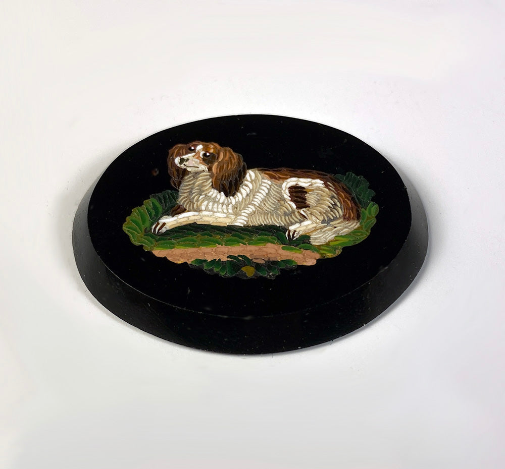 Antique c.1850s Micro Mosaic King Charles Spaniel, Unmounted, Unused, Italy Grand Tour Souvenir, 40mm x 32mm