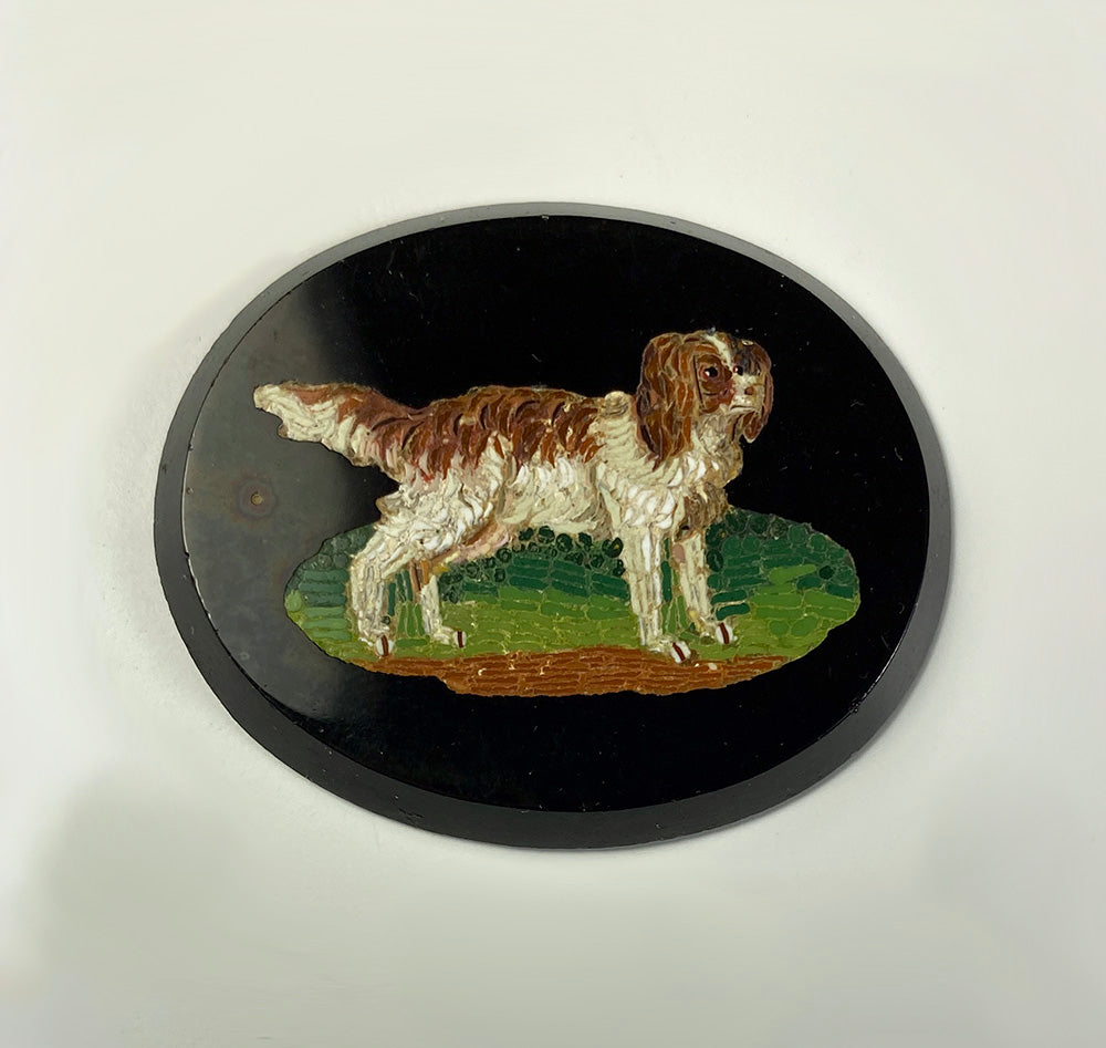 Antique Italy Grand Tour Souvenir Micro Mosaic, King Charles Spaniel, 41mm x 33mm, Unmounted