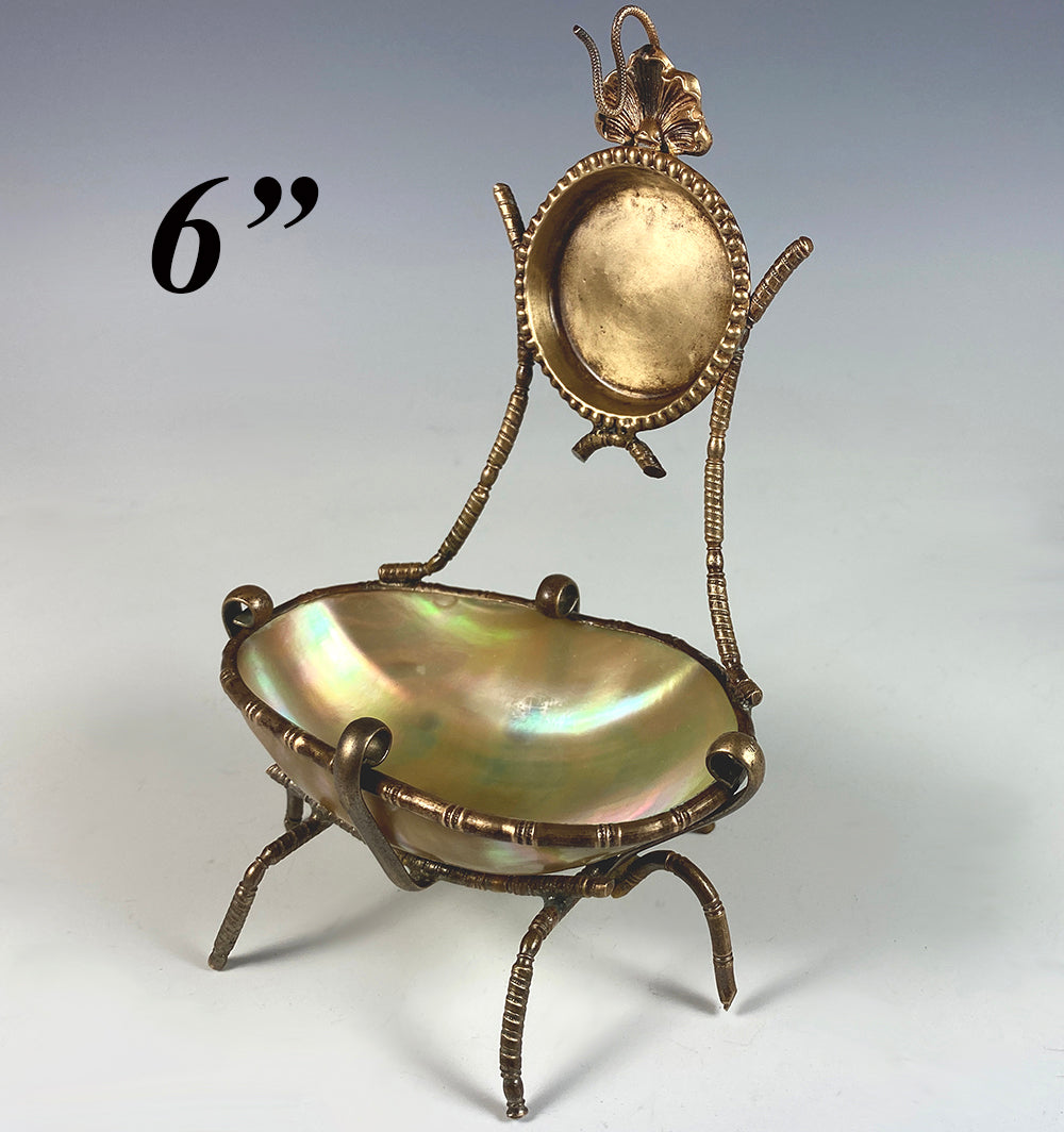 Antique French Mother of Pearl Egg Pocket Watch Stand, Tray, Palais Royal
