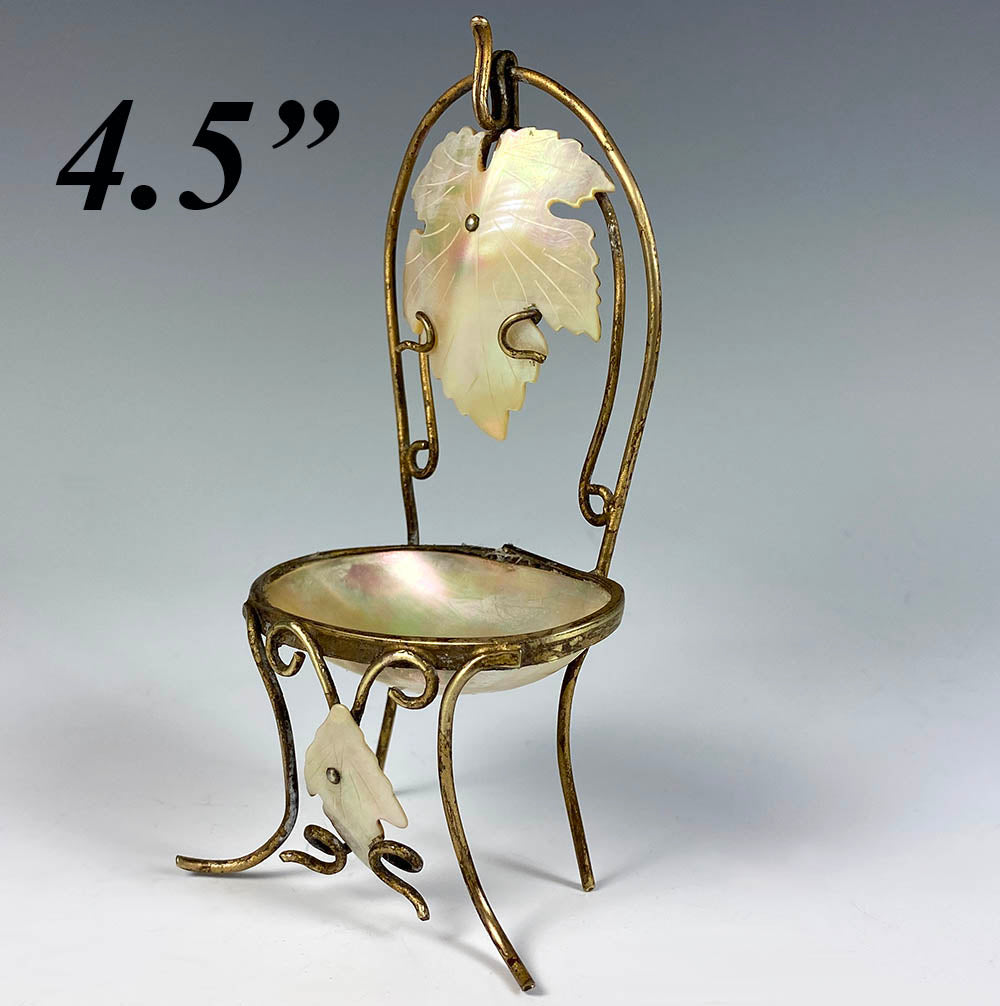 Antique French Palais Royal Mother of Pearl Half Shell Chair Pocket Watch Stand