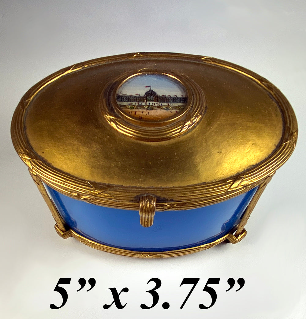 Antique French Opaline & Dore Bronze Grand Tour Souvenir Box, Casket, Eglomise Top