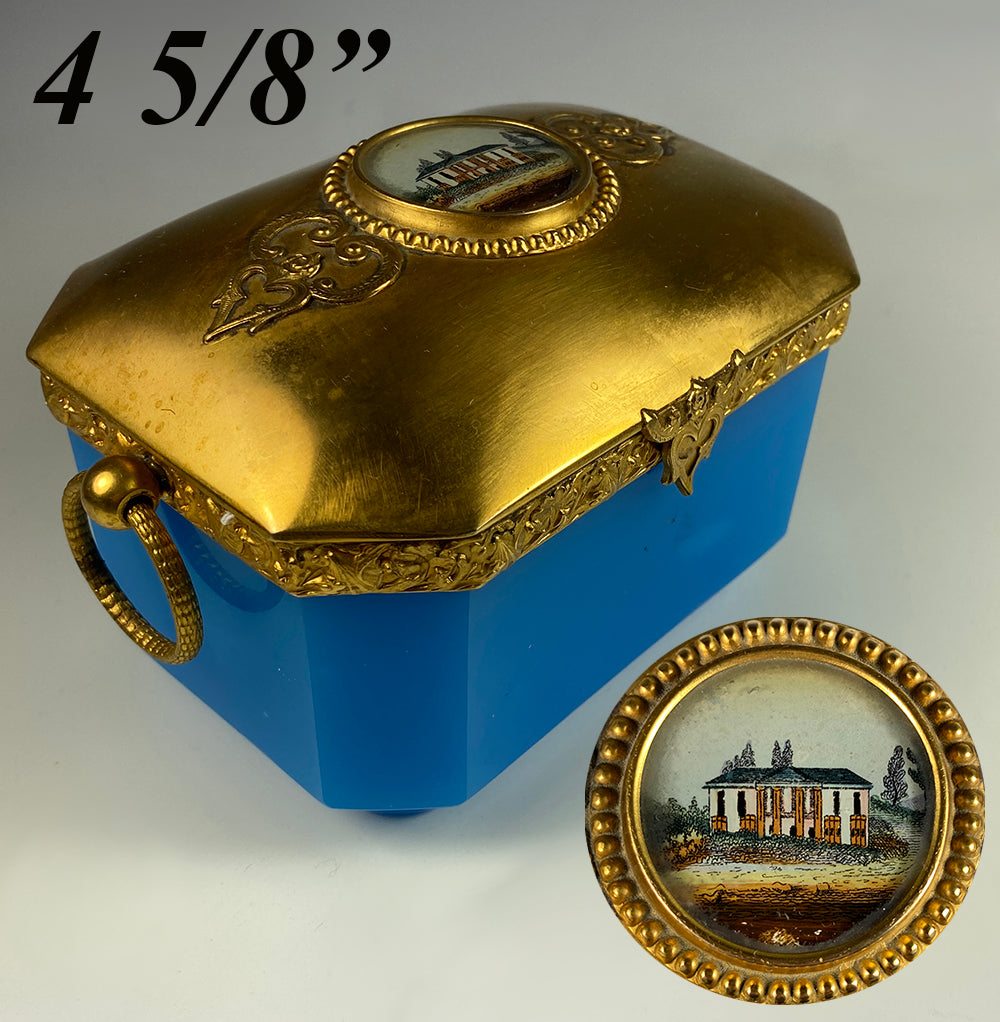 Antique French Opaline Box, Casket, Coffret with Handles, Eglomise View of a Chateau