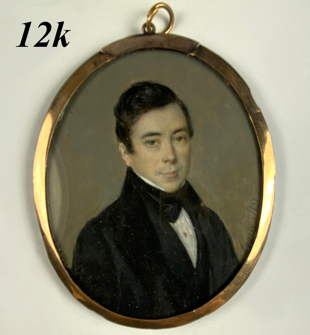 Antique French Portrait Miniature, Dagoty c.1837, Handsome Young Man in 12k Frame